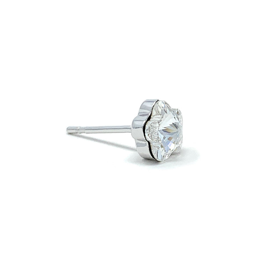 Anna Small Stud Earrings with White Clear Flower Crystals from Swarovski Silver Toned Rhodium Plated