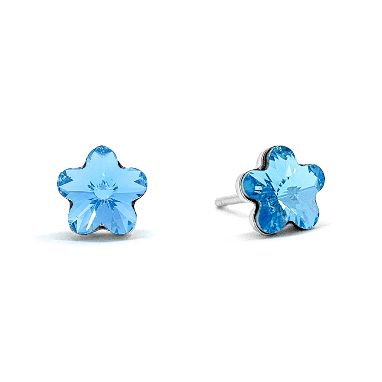 Anna Small Stud Earrings with Blue Aquamarine Flower Crystals from Swarovski Silver Toned Rhodium Plated - Ed Heart