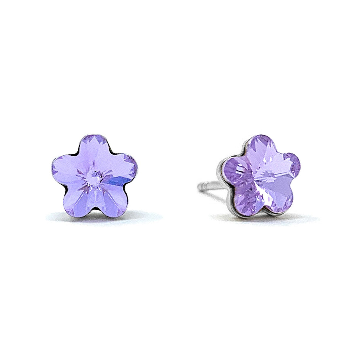 Anna Small Stud Earrings with Purple Violet Flower Crystals from Swarovski Silver Toned Rhodium Plated - Ed Heart