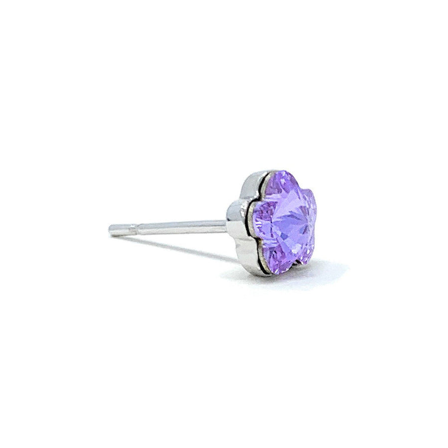 Anna Small Stud Earrings with Purple Violet Flower Crystals from Swarovski Silver Toned Rhodium Plated