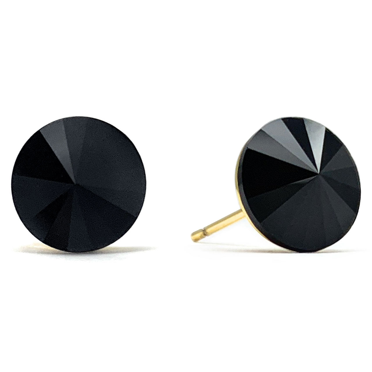 Harley Stud Earrings with Black Jet Round Rivoli Crystals from Swarovski Gold Plated - Ed Heart