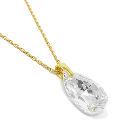 Aurora Pendant Necklace with White Clear Pear Crystals from Swarovski Gold Plated - Ed Heart