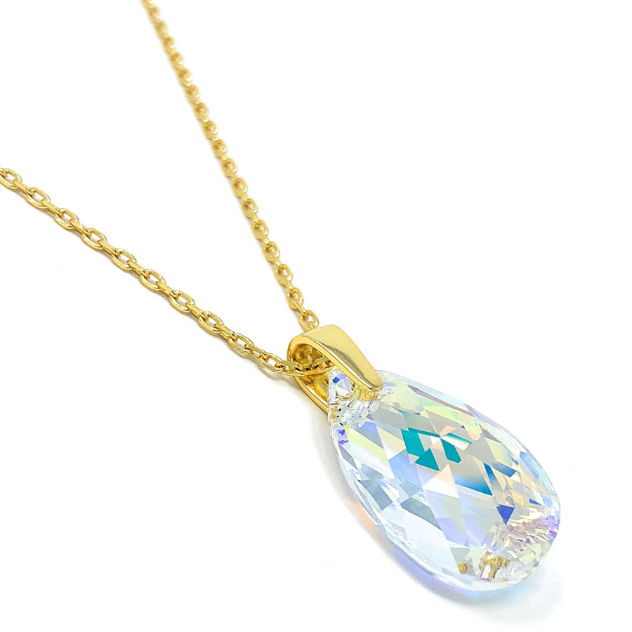 Aurora Pendant Necklace with Clear Multicolor Aurore Boreale Pear Crystals from Swarovski Gold Plated - Ed Heart