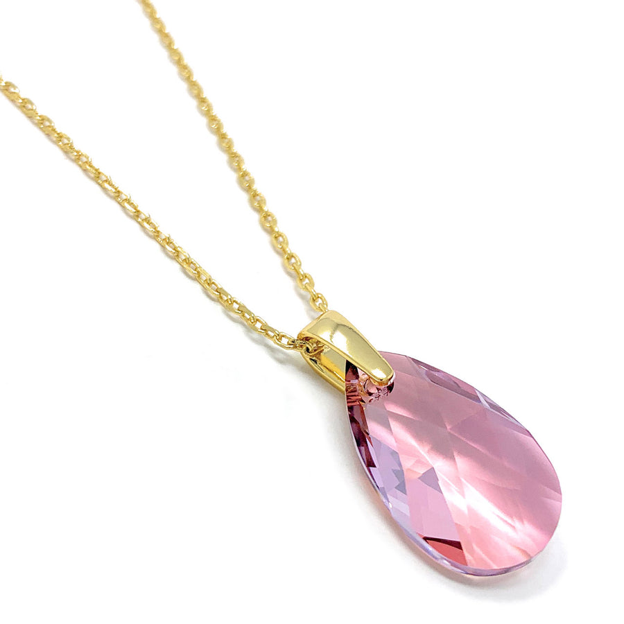 Aurora Pendant Necklace with Beige Antique Pink Pear Crystals from Swarovski Gold Plated