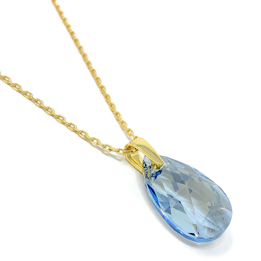 Aurora Pendant Necklace with Grey Blue Shade Pear Crystals from Swarovski Gold Plated
