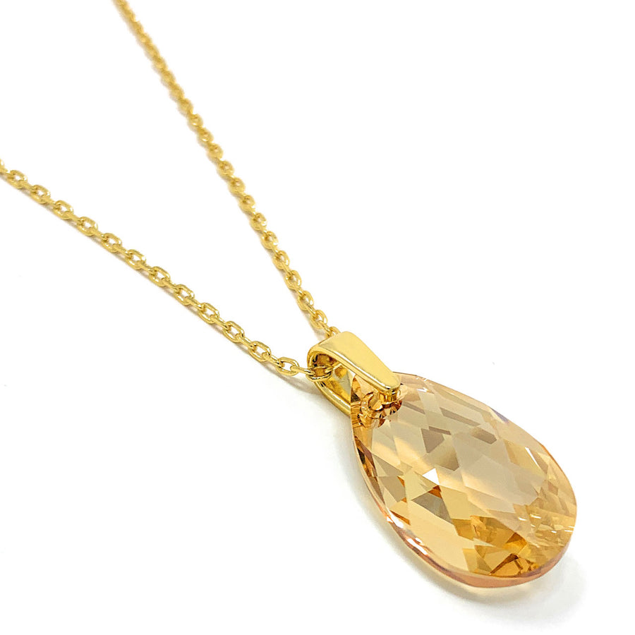Aurora Pendant Necklace with Yellow Beige Golden Shadow Pear Crystals from Swarovski Gold Plated