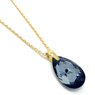 Aurora Pendant Necklace with Black Grey Silver Night Pear Crystals from Swarovski Gold Plated - Ed Heart
