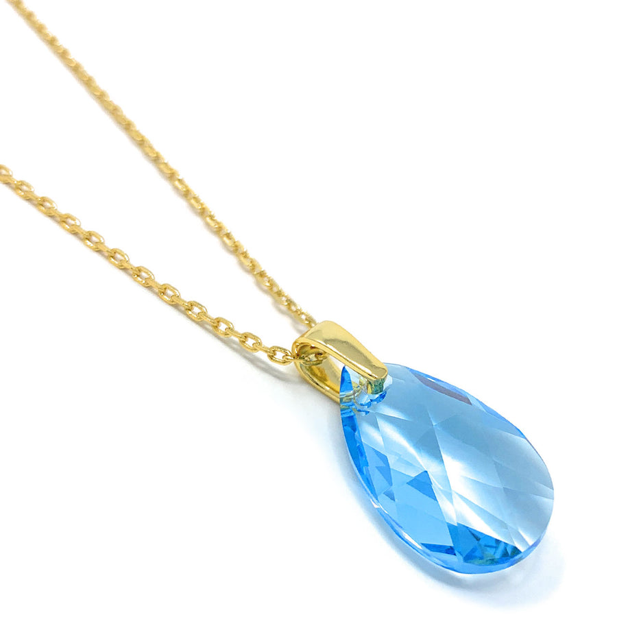 Aurora Pendant Necklace with Blue Aquamarine Pear Crystals from Swarovski Gold Plated