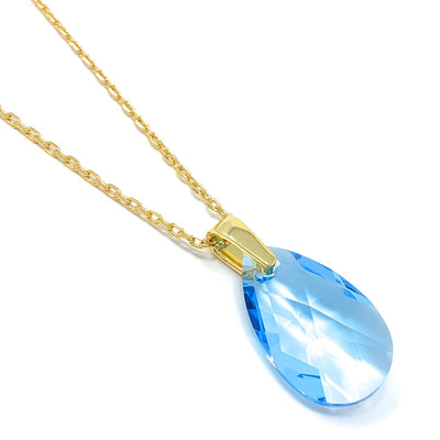 Aurora Pendant Necklace with Blue Aquamarine Pear Crystals from Swarovski Gold Plated - Ed Heart