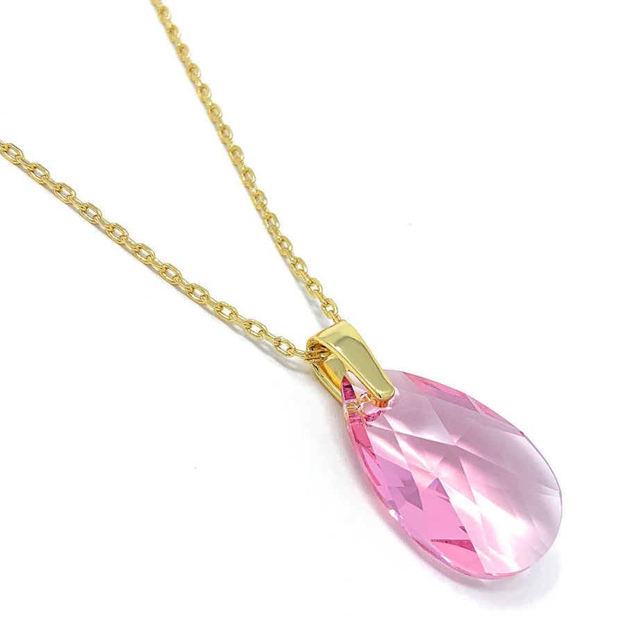Aurora Pendant Necklace with Pink Light Rose Pear Crystals from Swarovski Gold Plated - Ed Heart