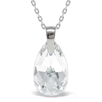 Aurora Pendant Necklace with White Clear Pear Crystals from Swarovski Silver Toned Rhodium Plated