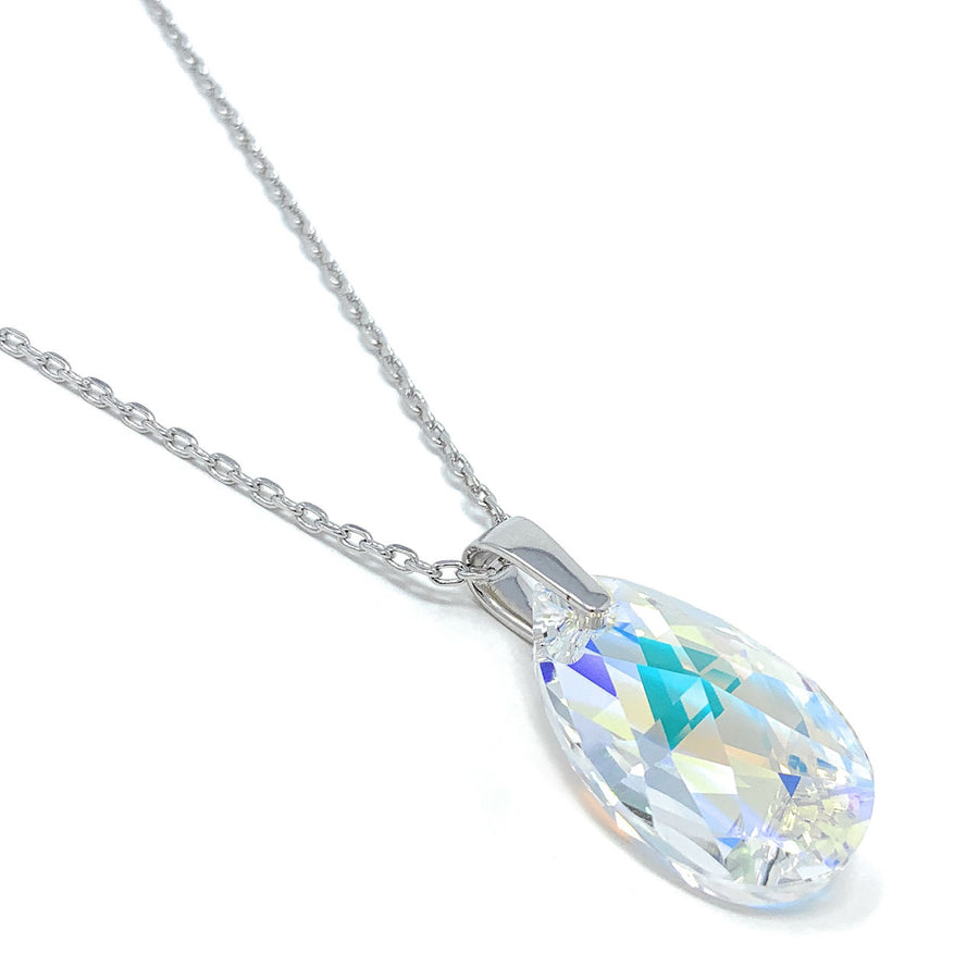 Aurora Pendant Necklace with Clear Multicolor Aurore Boreale Pear Crystals from Swarovski Silver Toned Rhodium Plated