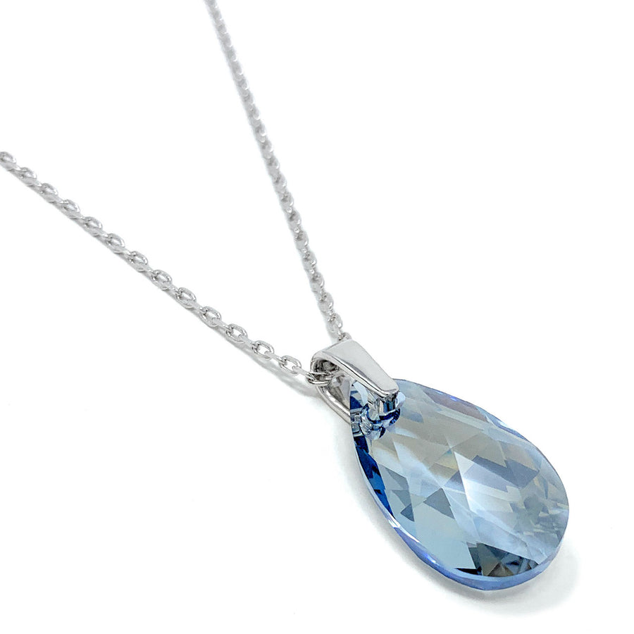 Aurora Pendant Necklace with Grey Blue Shade Pear Crystals from Swarovski Silver Toned Rhodium Plated