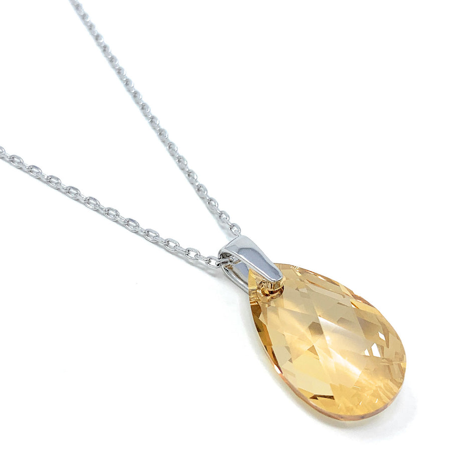 Aurora Pendant Necklace with Yellow Beige Golden Shadow Pear Crystals from Swarovski Silver Toned Rhodium Plated - Ed Heart