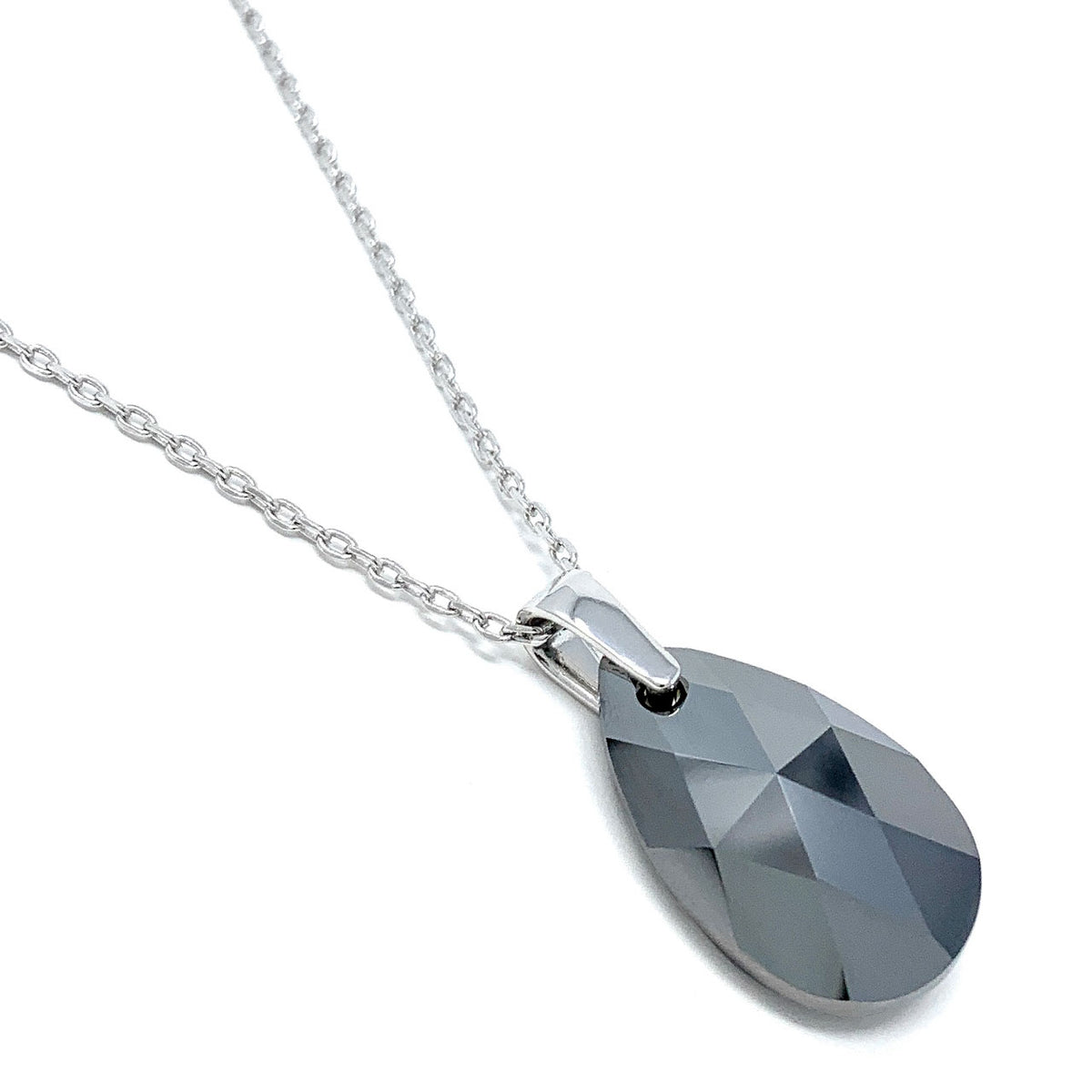 Aurora Pendant Necklace with Black Grey Silver Night Pear Crystals from Swarovski Silver Toned Rhodium Plated - Ed Heart