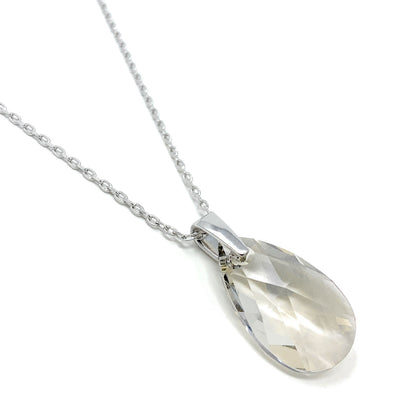Aurora Pendant Necklace with Grey Silver Shade Pear Crystals from Swarovski Silver Toned Rhodium Plated