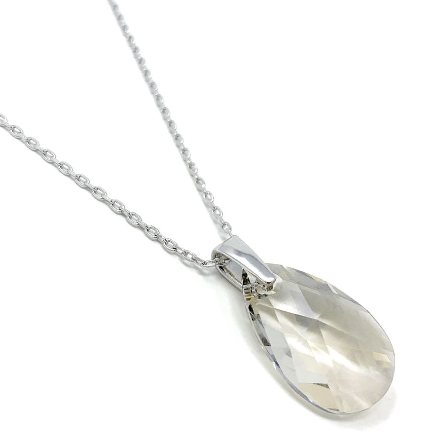 Aurora Pendant Necklace with Grey Silver Shade Pear Crystals from Swarovski Silver Toned Rhodium Plated - Ed Heart