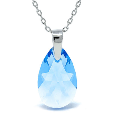 Aurora Pendant Necklace with Blue Aquamarine Pear Crystals from Swarovski Silver Toned Rhodium Plated