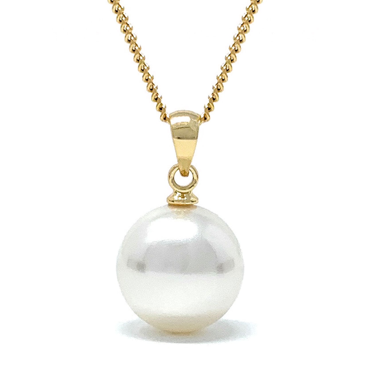 Elizabeth Pendant Necklace with Ivory White Round Pearls from Swarovski Gold Plated - Ed Heart