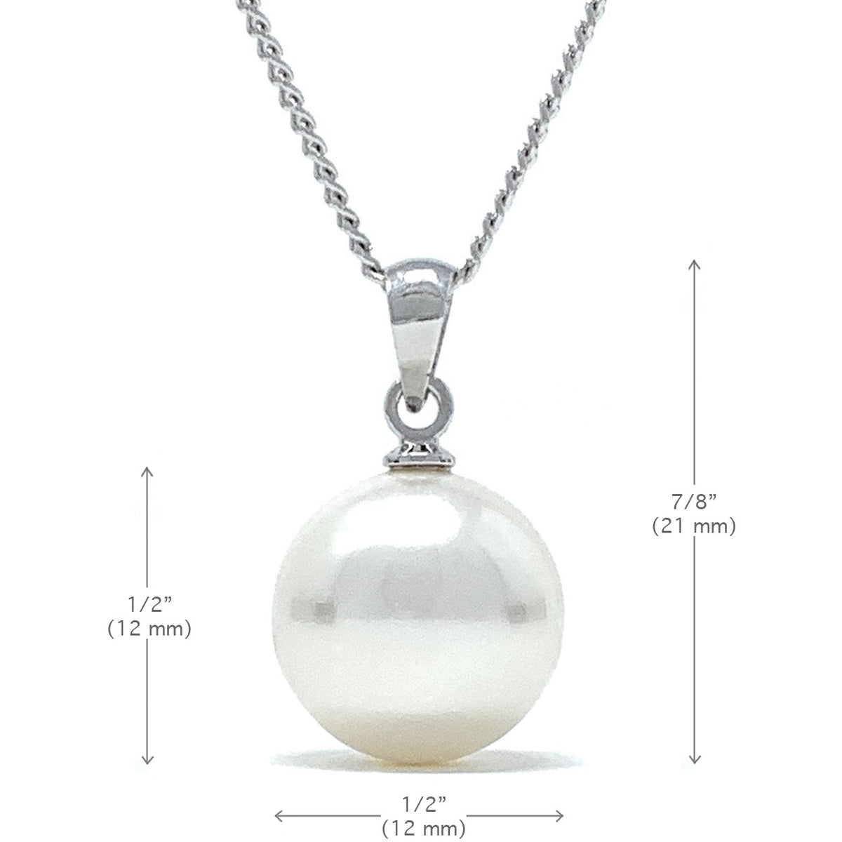 Elizabeth Pendant Necklace with Ivory White Round Pearls from Swarovski Silver Toned Rhodium Plated - Ed Heart