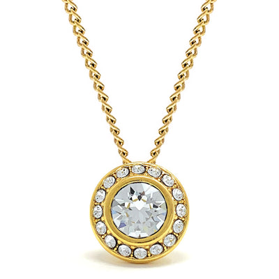 Halo Pave Pendant Necklace with White Clear Round Crystals from Swarovski Gold Plated - Ed Heart