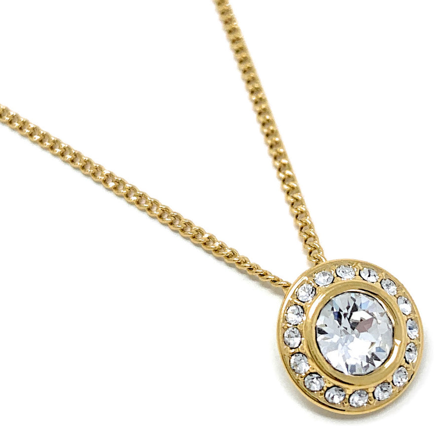 Halo Pave Pendant Necklace with White Clear Round Crystals from Swarovski Gold Plated
