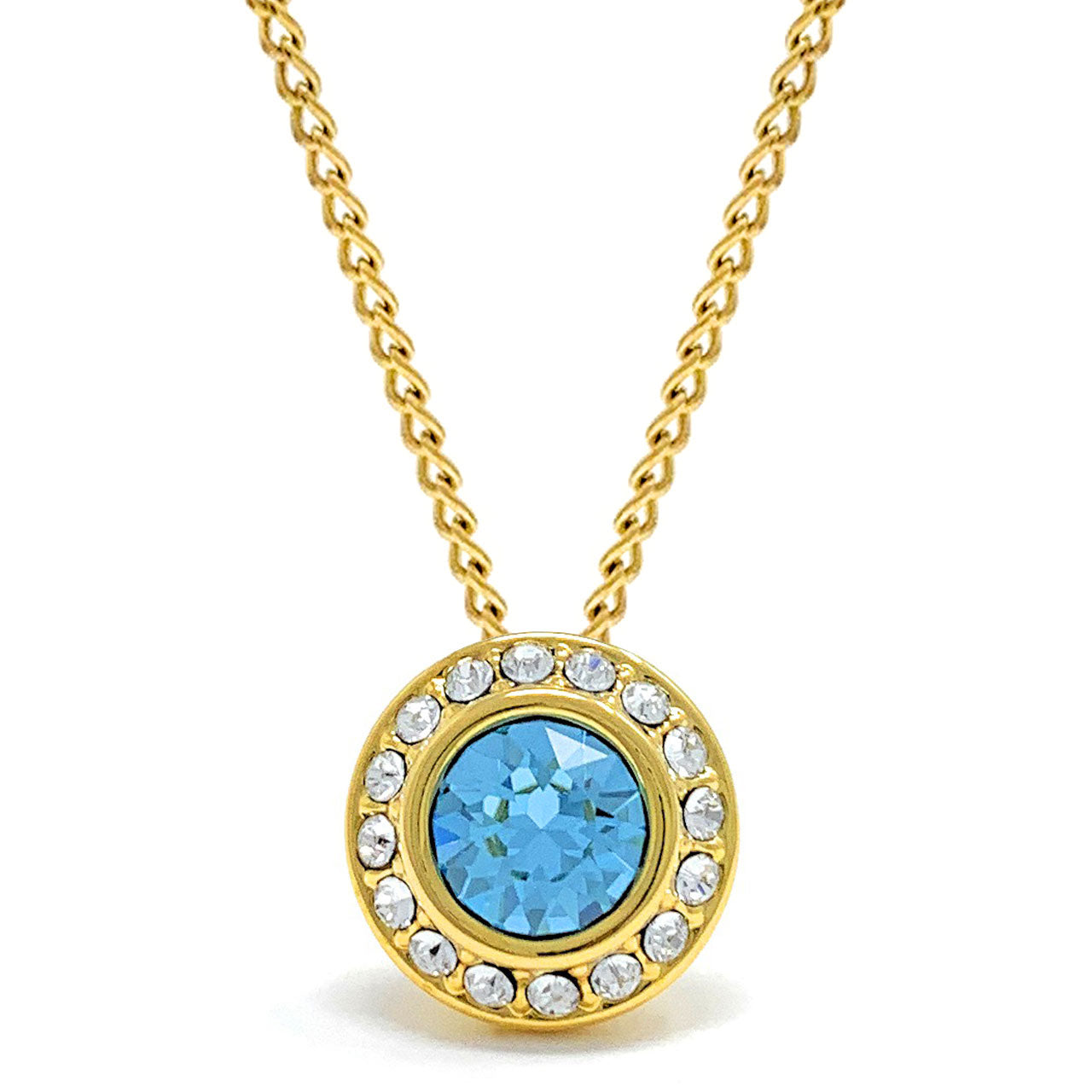 Halo Pave Pendant Necklace with Blue Aquamarine Round Crystals from Swarovski Gold Plated - Ed Heart