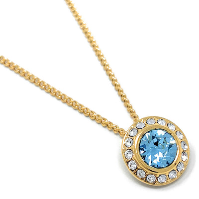 Halo Pave Pendant Necklace with Blue Aquamarine Round Crystals from Swarovski Gold Plated