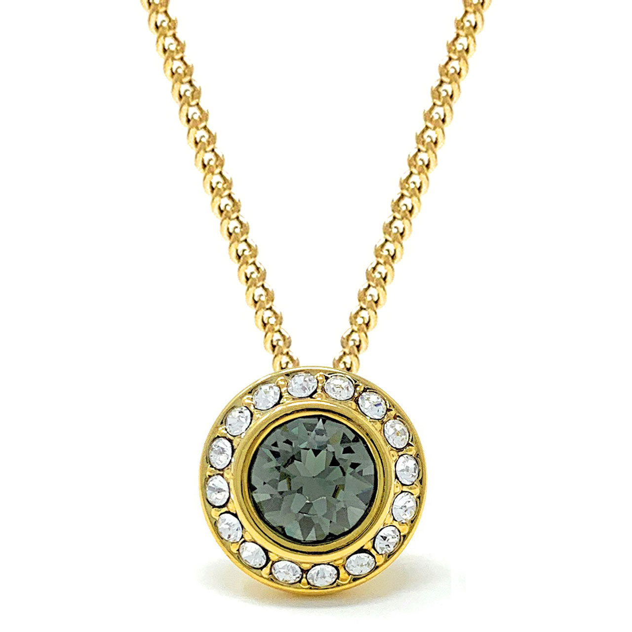 Halo Pave Pendant Necklace with Black Diamond Round Crystals from Swarovski Gold Plated - Ed Heart