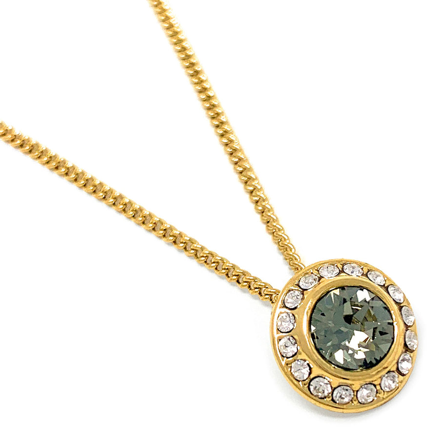 Halo Pave Pendant Necklace with Black Diamond Round Crystals from Swarovski Gold Plated