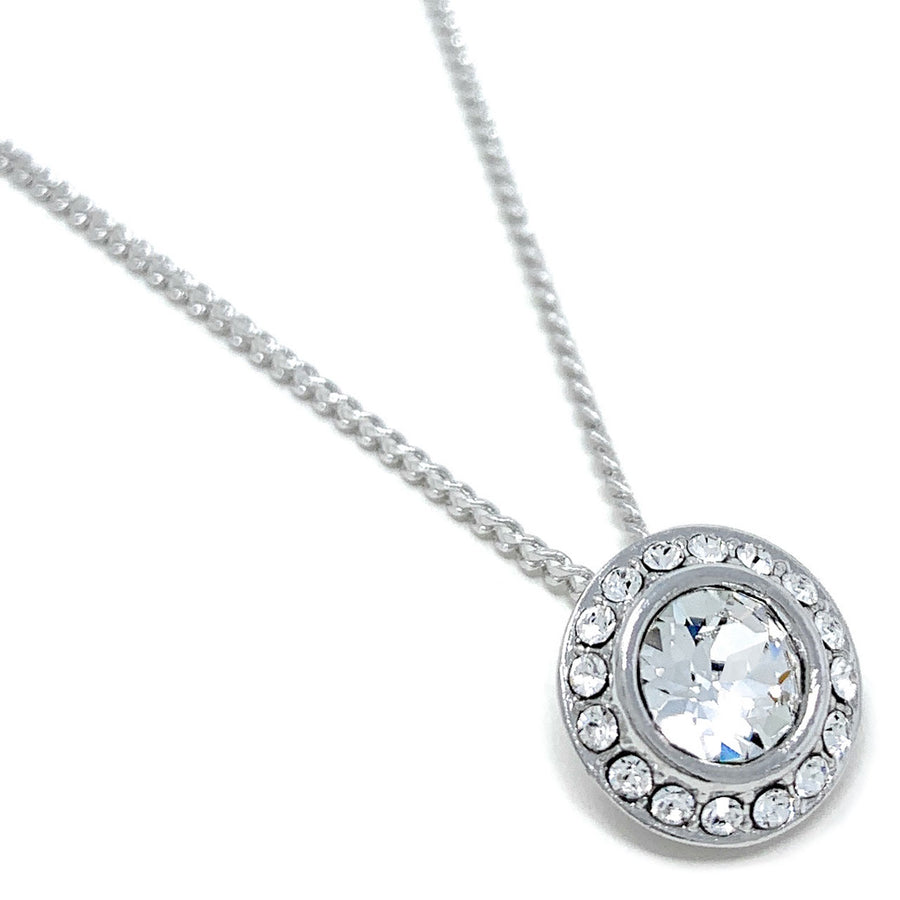 Halo Pave Pendant Necklace with White Clear Round Crystals from Swarovski Silver Toned Rhodium Plated