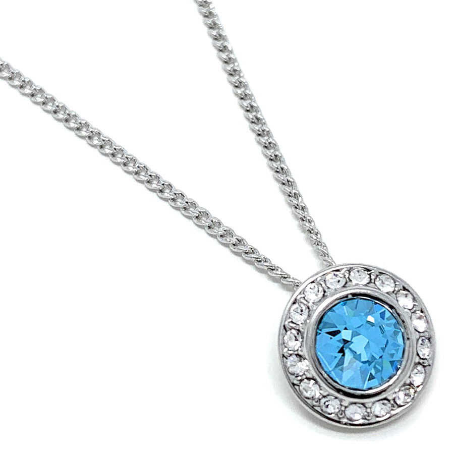 Halo Pave Pendant Necklace with Blue Aquamarine Round Crystals from Swarovski Silver Toned Rhodium Plated