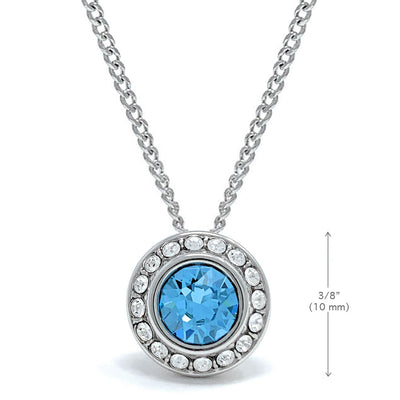 Halo Pave Pendant Necklace with Blue Aquamarine Round Crystals from Swarovski Silver Toned Rhodium Plated - Ed Heart