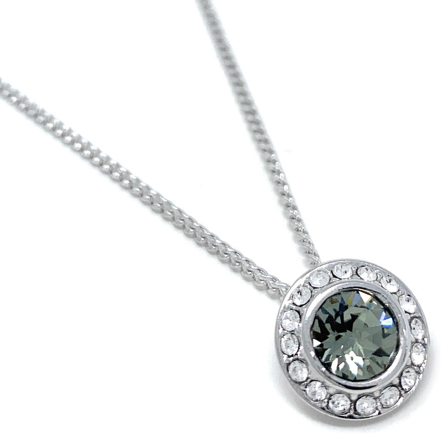 Halo Pave Pendant Necklace with Black Diamond Round Crystals from Swarovski Silver Toned Rhodium Plated