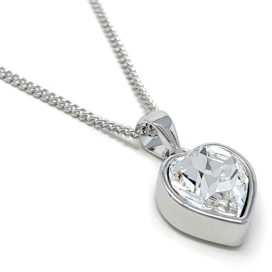 Lucia Pendant Necklace with White Clear Heart Crystals from Swarovski Silver Toned Rhodium Plated