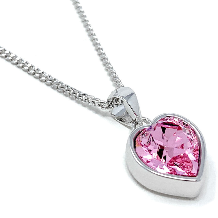 Lucia Pendant Necklace with Pink Light Rose Heart Crystals from Swarovski Silver Toned Rhodium Plated