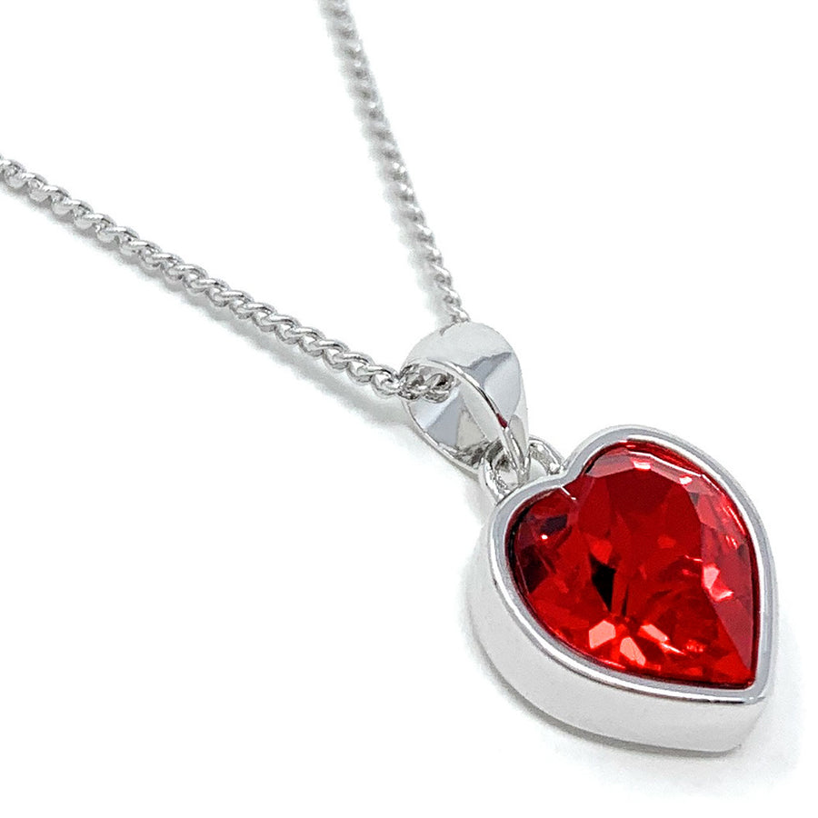 Lucia Pendant Necklace with Red Light Siam Heart Crystals from Swarovski Silver Toned Rhodium Plated
