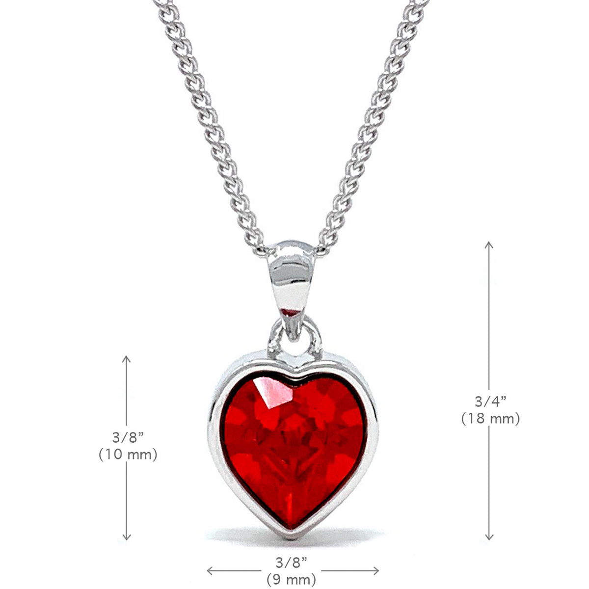 Lucia Pendant Necklace with Red Light Siam Heart Crystals from Swarovski Silver Toned Rhodium Plated - Ed Heart
