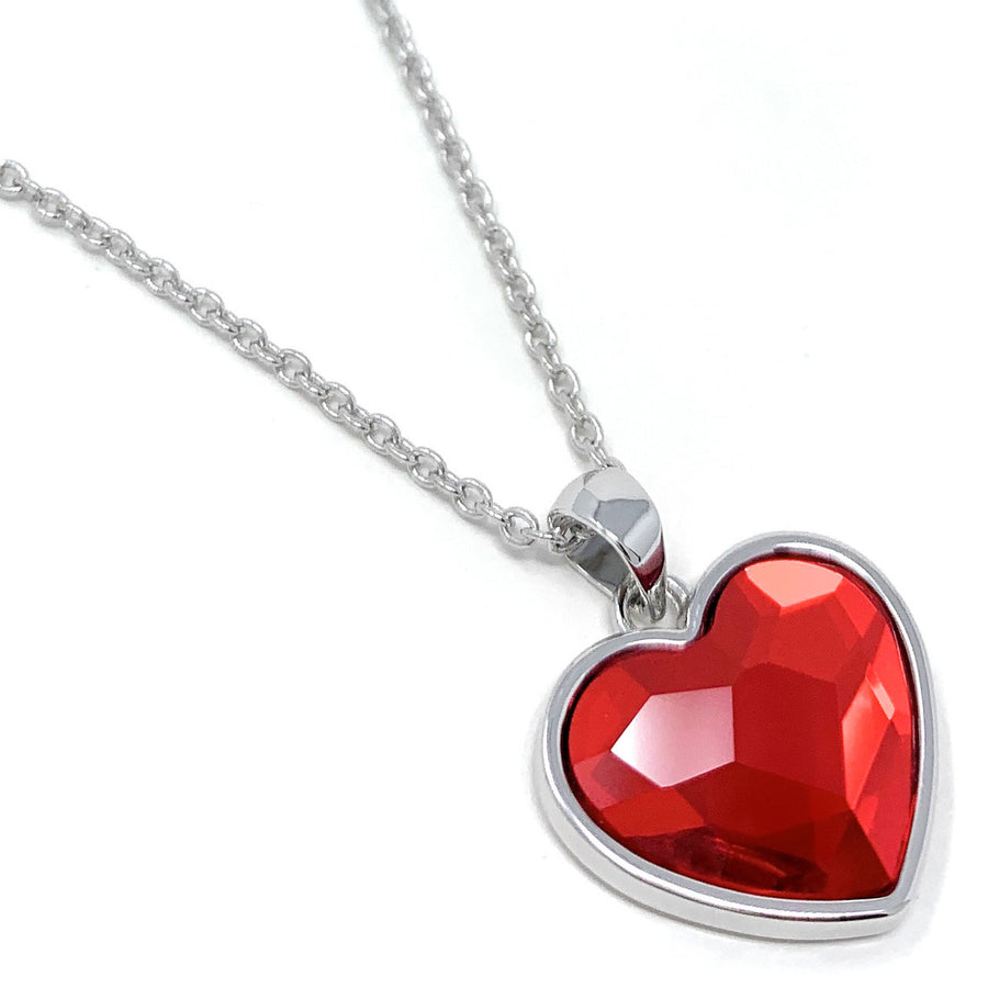 Diana Pendant Necklace with Red Light Siam Heart Crystals from Swarovski Silver Toned Rhodium Plated