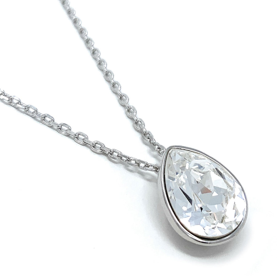 Mary Pendant Necklace with White Clear Drop Crystals from Swarovski Silver Toned Rhodium Plated - Ed Heart