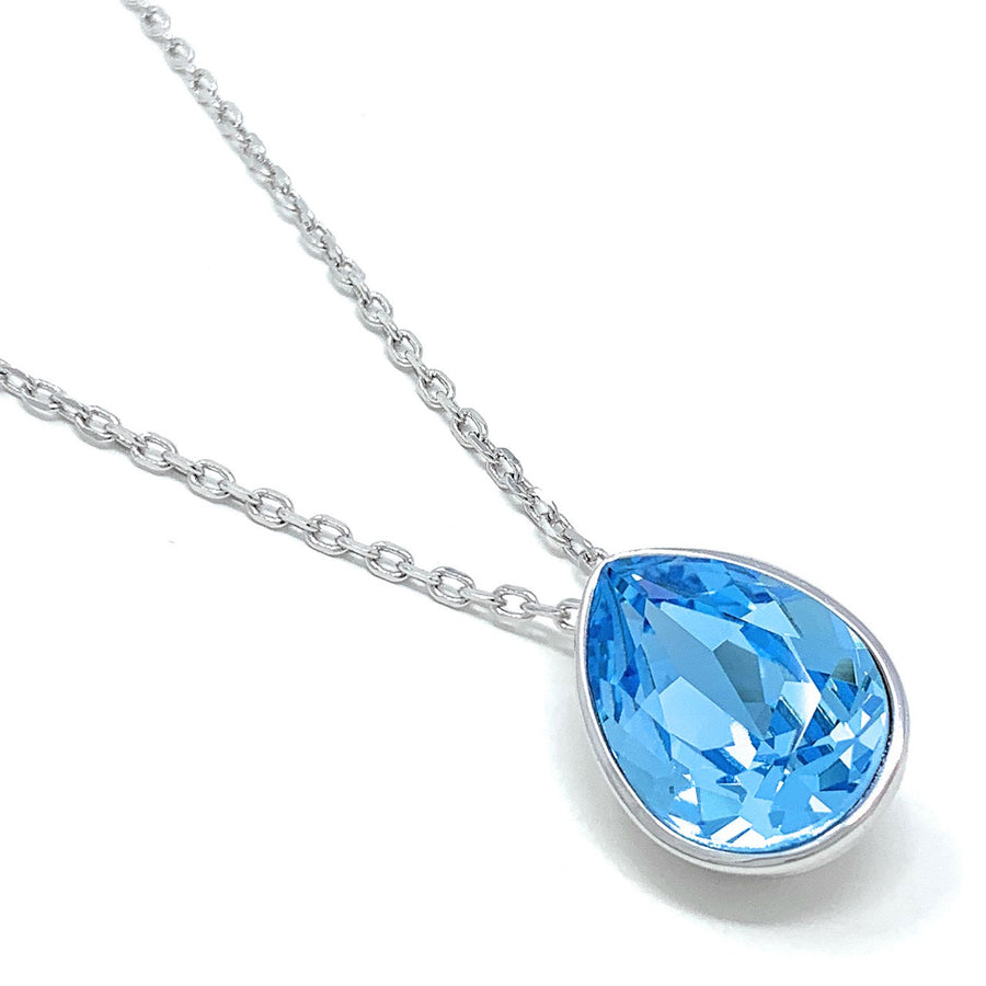 Mary Pendant Necklace with Blue Aquamarine Drop Crystals from Swarovski Silver Toned Rhodium Plated