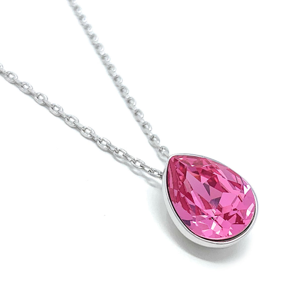 Mary Pendant Necklace with Pink Rose Drop Crystals from Swarovski Silver Toned Rhodium Plated