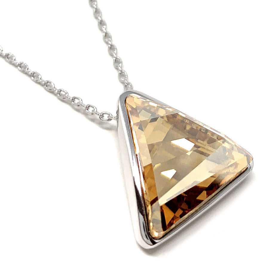 Helena Pendant Necklace with Yellow Beige Golden Shadow Triangle Crystals from Swarovski Silver Toned Rhodium Plated