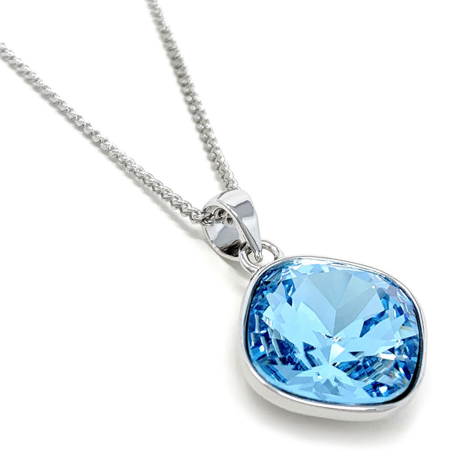Patricia Pendant Necklace with Blue Aquamarine Square Crystals from Swarovski Silver Toned Rhodium Plated - Ed Heart