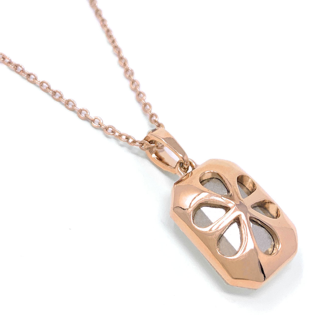 Rosalind Pave Pendant Necklace with White Clear Octagon Crystals from Swarovski Rose Gold Plated - Ed Heart