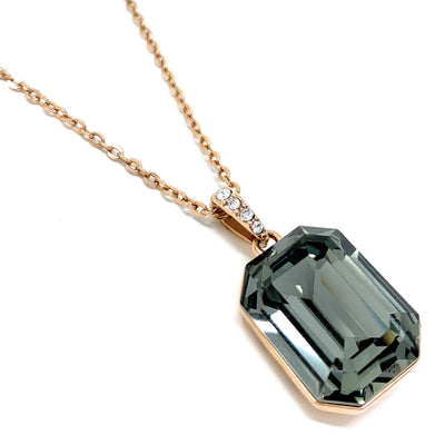 Rosalind Pave Pendant Necklace with Black Diamond Octagon Crystals from Swarovski Rose Gold Plated