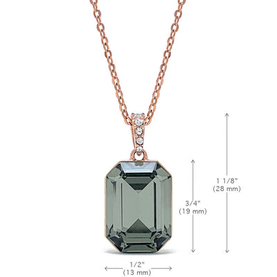 Rosalind Pave Pendant Necklace with Black Diamond Octagon Crystals from Swarovski Rose Gold Plated - Ed Heart
