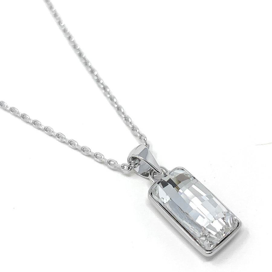 Sophia Pendant Necklace with White Clear Rectangle Crystals from Swarovski Silver Toned Rhodium Plated