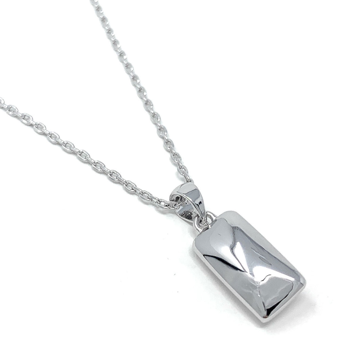Sophia Pendant Necklace with White Clear Rectangle Crystals from Swarovski Silver Toned Rhodium Plated - Ed Heart