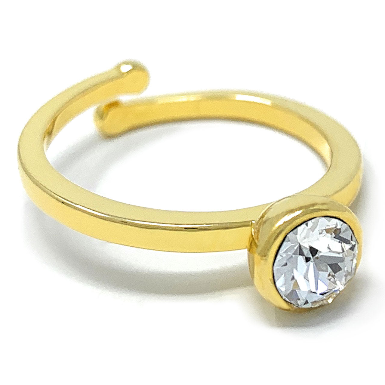 Harley Adjustable Ring with White Clear Round Crystals from Swarovski Gold Plated - Ed Heart